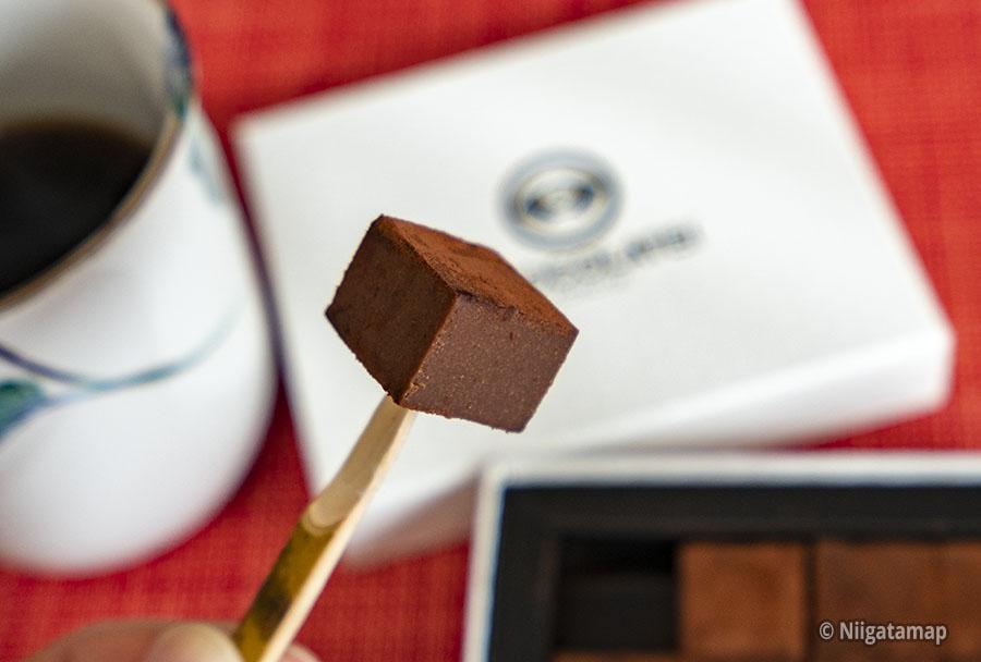 しょこら亭の美味しい生チョコレートを食べる直前の写真