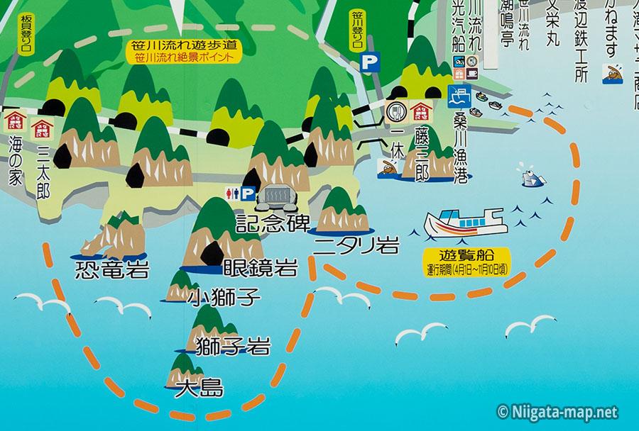 笹川流れ遊覧船運航ルート